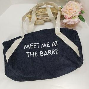 Meet me at the BARRE denim duffle bag